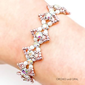 Beaded Crystal Bracelet - Rose Montee Marquise - Rose Gold and White