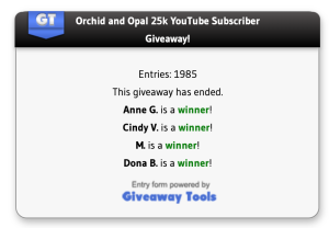 winner announcement orchid and opal 25k subscriber giveaway