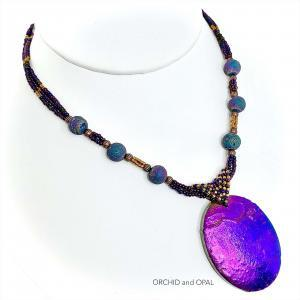 Electroplated Jasper Beaded Pendant Necklace