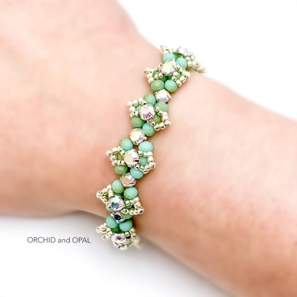 Beaded Crystal Bracelet - Rose Montee Marquise - Silver seed beads and light green rondelle beads.
