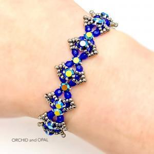Beaded Crystal Bracelet - Rose Montee Marquise - Cobalt Blue and Gray